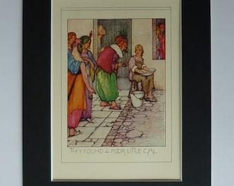 1920s Antique Fantasy Print - Poor Little Girl - Arabian Nights - Persian Art Print - Antique Illustration - Arabian King Art - Green Magic