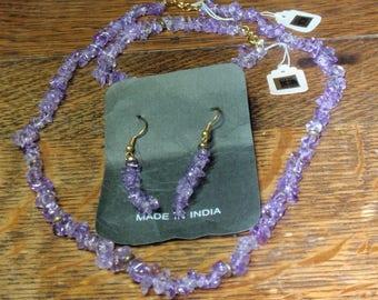 Amethyst Necklace,Bracelet, earring Set