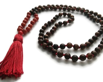 Chakra Collection 8mm Sandalwood & Coral Traditional Knotted 108 Meditation Mala Necklace Root First Chakra Yoga Modern Minimal Jewelry