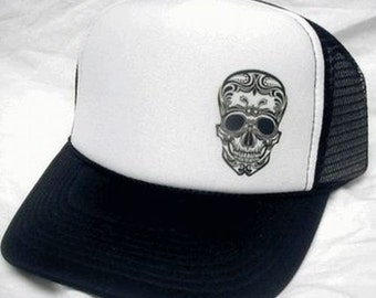 Tattoo Skull / Day of The Dead Trucker Hat Mesh Hat  Snap Back Hat CHOOSE COLOR hat! adjustable one size fits most NEW
