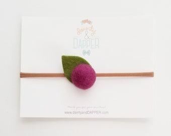 Berry Flower Headband / Felt Flower Headband / Newborn Headband / Baby Flower Headband / Dainty Flower Headband / Baby Shower Gift