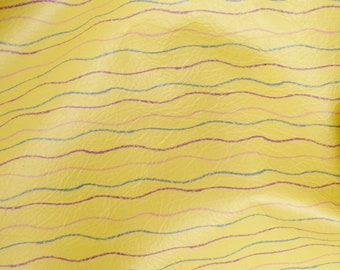 "Leather CLOSEOUT 12""x12""  YELLOW SQUIGGLES Print Cowhide #419 2.5-3 oz / 1-1.2 mm PeggySueAlso™ E2350-01 Trial"