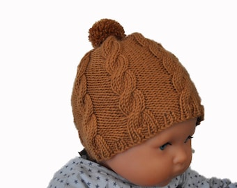 Basil - Hat with cables and Pompom for baby wool/cashmere knit