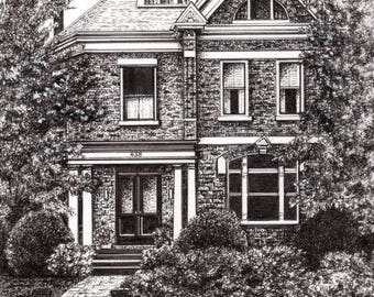 CUSTOM HOME DRAWING, Pen and Ink by Suzanne Churchill, Realtor Thank You, Family Home, Paper Anniversary, First Home, Gift Certificate