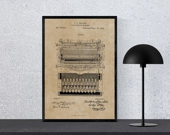 Typewriter patent Typewriter blueprint poster gift Typewriter wall art Typewriter design Typewriter image Typewriter print Instant download