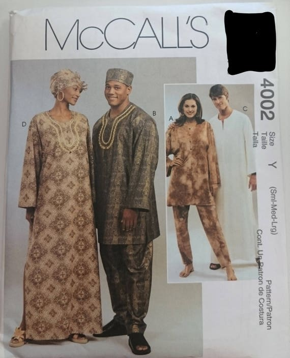 McCalls 4002 Mens and Misses African Wear Caftan Sewing Pattern Size ...