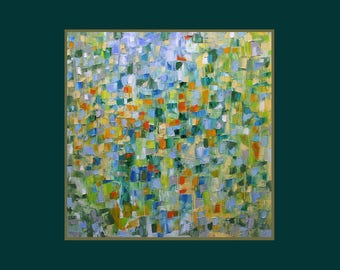 Abstract painting, bright, green, blue, orange, yellow, square, 16 x 16 inches, free shipping