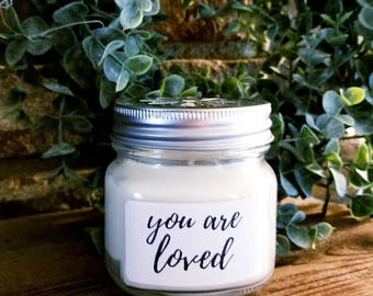 "Personalized Natural Soy Candles ""You are Loved"""