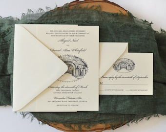 Wormsloe Gate Wedding Invitation - Savannah Wedding - Savannah Bride - Simply Southern - Wedding Invitation Suite - Georgia Wedding - Sample