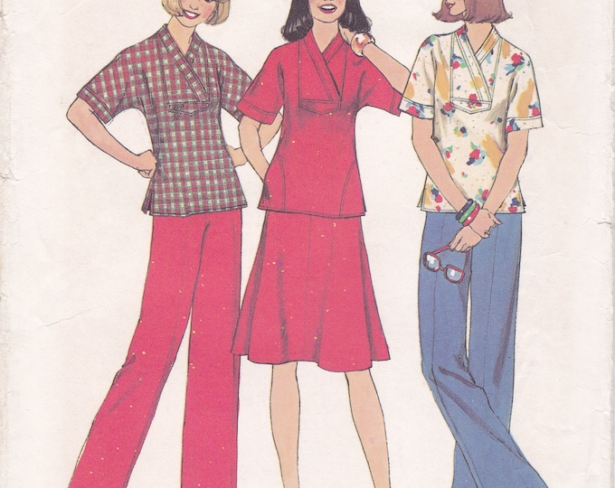 FREE US SHIP Simplicity 7396 Retro 1970's 70's  Pullover Tops Kimono Sleeve Wide Leg Pants Size 6-8 Bust 30 31 Sewing Pattern ff Uncut