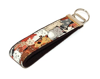Cat Keychain - Kitty Cat Fabric Key Fob - Animal lover wristlet