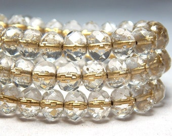 8x6mm Transparent Gold Lined Czech Beads, Clear Beads, Gold Champagne Beads, Crystal Beads, Glass Beads Rondelle Beads, Faceted Beads T-77E