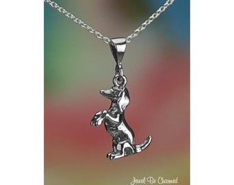 "Sterling Silver Begging Dachshund Necklace 16-24"" or Pendant Only .925"
