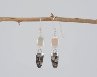 Turritella agate + pearl earrings, gemstone earrings, pearl earrings, white pearl, freshwater pearl, handmade earrings, unique, gift for her