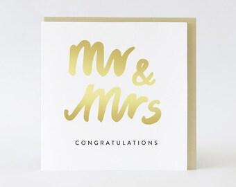 Wedding card or Engagement // Mr & Mrs // Gold foil card  TPRC102