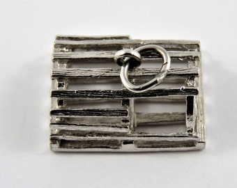 Large Empty Lobster Trap Sterling Silver Charm or Pendant.