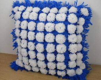 Retro vintage throw pillow decorative cobalt blue white square / handmade pom poms fringe / home decor / 1980s