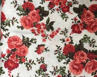 Pure 100% Linen Fabric By Meter Half Meter Natural Linen Fabric Rose linen fabric Red roses linen fabric Flax meter