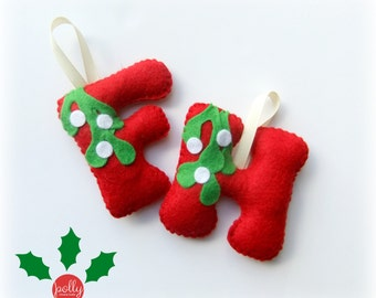 Letter baubles in your choice of design, personalised Christmas decoration, felt bauble, felt Christmas decoration
