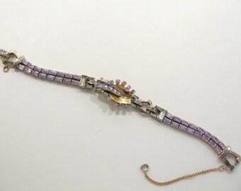 Stunning Vintage Mazer Alexandrite Rhinestone Bracelet
