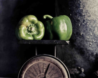 Food Photography, Modern Farmhouse Decor, Pepper Art, Rustic Kitchen Wall Decor, Vegetable Art, Foodie Gift, Rustic Industrial Art, Cafe Art