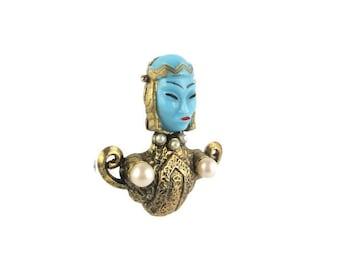 Blue Glass Asian Princess Pin / Pastel Blue Asian Princess Brooch/ Asian Face  Faux Pearl Gold Tone  Brooch