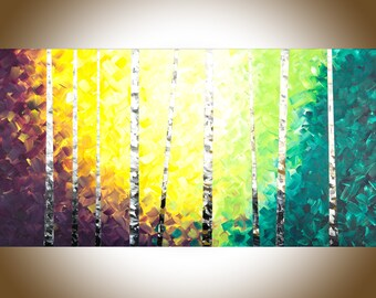 Birch tree painting Birch painting silver birch large wall art painting on canvas wall decor office decor gift for her by qiqigallery