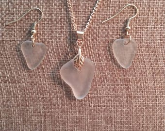 Sea glass necklace/earring set