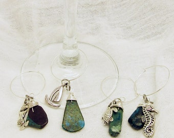 Turquoise and Mermaid, Anchor, Sailboat, and Seahorse Wine  Glass Charms