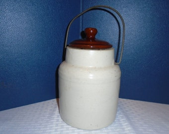 Old Stoneware Crock / Crock with wire handle / Canning crock / crockery / Stoneware /