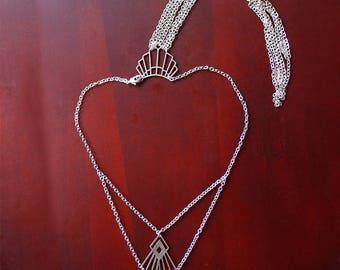 Leomie Back Necklace, Bridal Necklace, Back Drop Necklace, Geo Necklace, Wedding Necklace, Modern Necklace Gift, Tassel Neklace