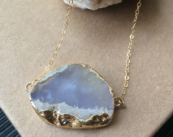 Smoke & Gold// Smoky Lavender Agate Slice Necklace in Gold