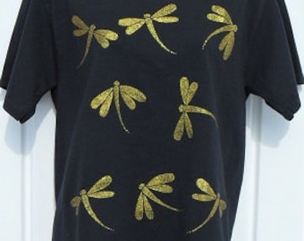 Dragonfly shirt hand painted with gold glitter