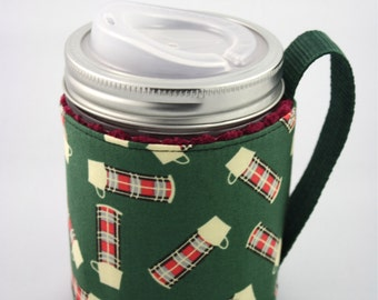 ReFluff, mason jar sleeve, mason jar cozy,eco friendly,up cycled, thermos, eco gift, plaid thermos, mason jar, lumberjack, cuppow, starbucks