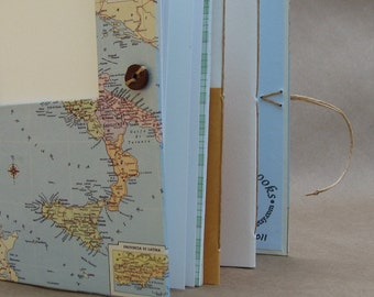 Personalized Italy Travel Journal with Pockets, Envelopes and Map
