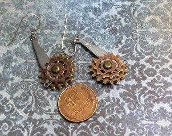Real Steampunk handmade earrings vintage adding machine parts  Mechanical Romance