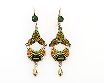Two part green earrings - Alpaca metal two part green earrings with Swarovski crystals and beads - hand-made by Adaya Jewelry