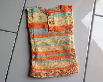 Newborn vest, smock sleeveless, multicolor needles on orange tones, hypoallergenic
