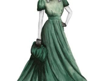 Green dress - watercolour & pencil Fashion Illustration - Giclee Art Print