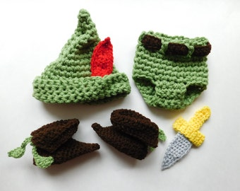 Peter Pan Hat, Pants, Boots and Dagger Crochet  Set  Baby Boy Hat Photography Prop All sizes