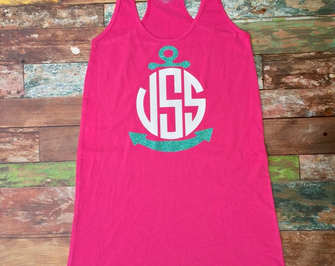 Anchor Monogram Swimsuit Coverup, Bridesmaid Gifts, Tank Dress Beach Cover up, Monogrammed Gifts, Monogrammed Tank Dress
