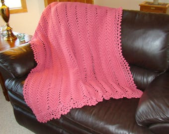 Crochet Afghan, Crochet Blanket, Crochet Throw, Rose Afghan