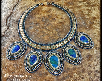 Egyptian style seed bead embroidered necklace with lapis chrysocolla stones Bead embroidered necklace