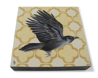 Herbst-Krähe Kunst - Corvus Corax - Schwarzer Vogel Malerei - dunkle Märchen Rabe Krähe - gefüttert - Kunst - dunkle Flügel dunkle Worte