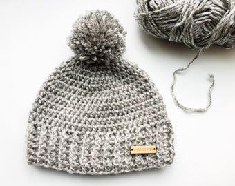 Crochet winter hat with pom pom