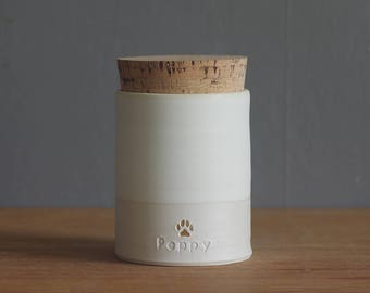 pet urn. straight shaped urn with custom name, dates, and stamp.  modern simple urn for ashes. funerary urn. bone white / porcelain shown