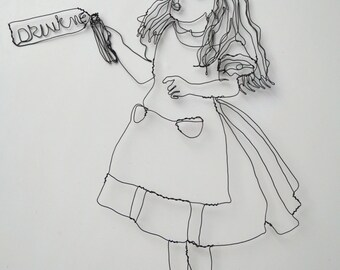 Alice in Wonderland Wire Drawing