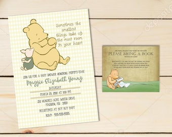 Baby Shower Invitation  | Classic Winnie the Pooh | Piglet | Baby shower Customizable| Bring a Book Card