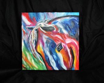 Original Oil Horse Painting: She's a Rainbow