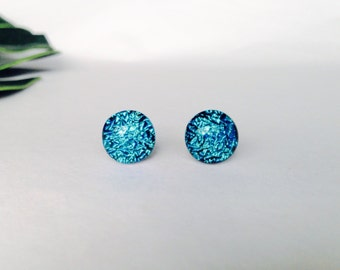 Sky Blue Crinklized dichroic glass stud earrings, on sterling silver - Fused dichroic glass
